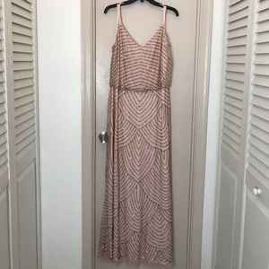 Adrianna Papell Blush Beaded Gown size 18W